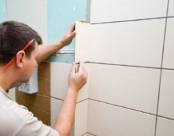 Tiling is a precise job requiring patience and skill.